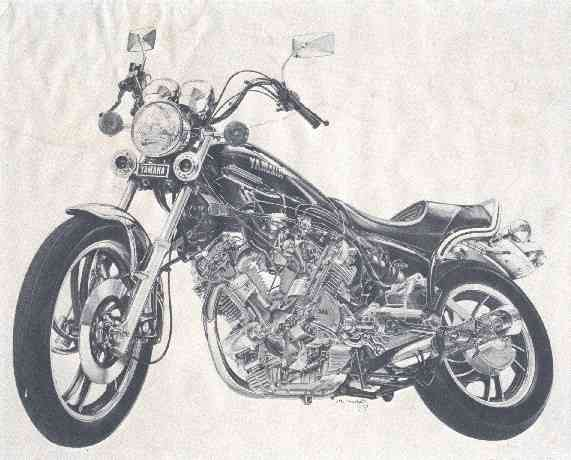 A cutaway drawing of the Virago I got when I bought it.