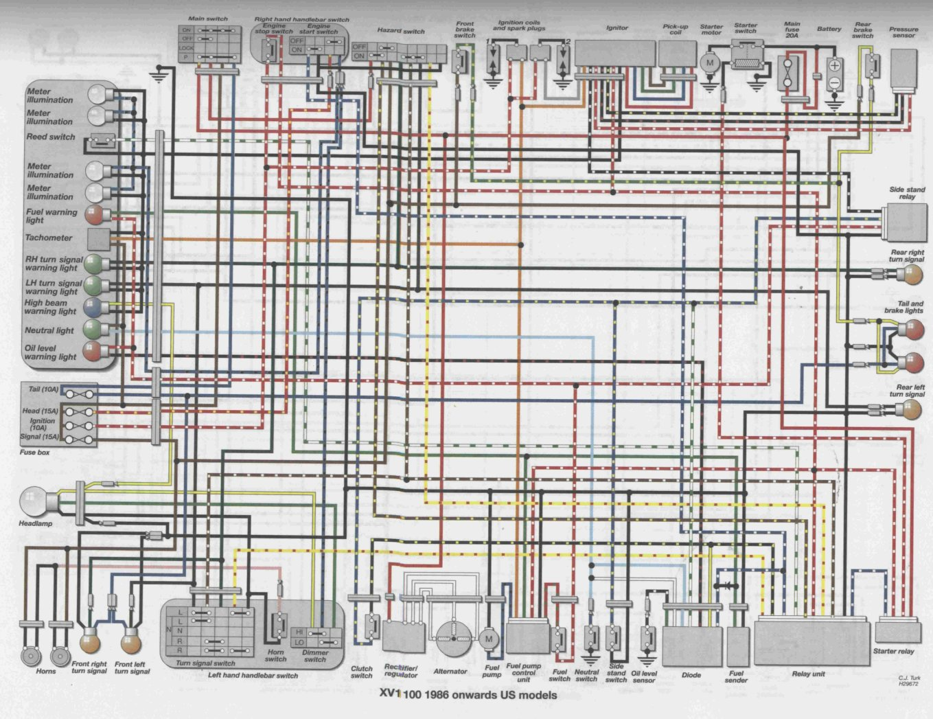 wiring diagram yamaha virago electrical wiring diagram yamaha rhino viragotechforum.com • view topic - re: 86 xv1100 starting ...